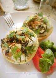 黒酢玉葱(刻み)×椎茸の和トーストの写真