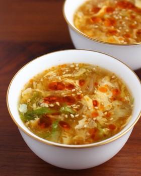 白菜と卵の酸辣湯風スープ(サンラータン