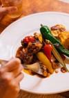 夏野菜と鶏もも肉のタンドリーチキン風