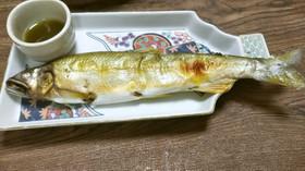 鮎の塩焼き抹茶で蓼酢風