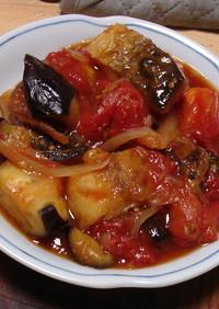 サバとトマトとなすの甘酢炒め