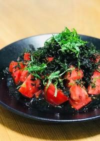 トマトとばら干し焼海苔の中華サラダ