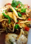 葱ときのことパプリカの鶏肉マリネ