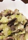 ニンニク塩で砂肝とネギ炒め