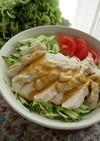 レンジ蒸し鶏のベジボウル