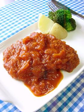 鶏胸肉のカツレツ煮。