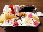 子供と手作り簡単誕生日アイスケーキの写真