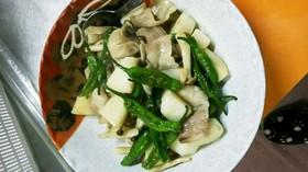 長芋と豚肉とししとうの炒め煮