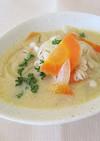 にんじんと押し麦の豆乳スープ