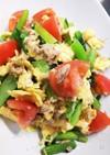 小松菜とツナ、トマト、卵の炒め物