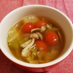 プチトマトとキャベツのさっぱりスープ