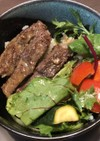 キューピードレッシングで夏野菜ステーキ丼