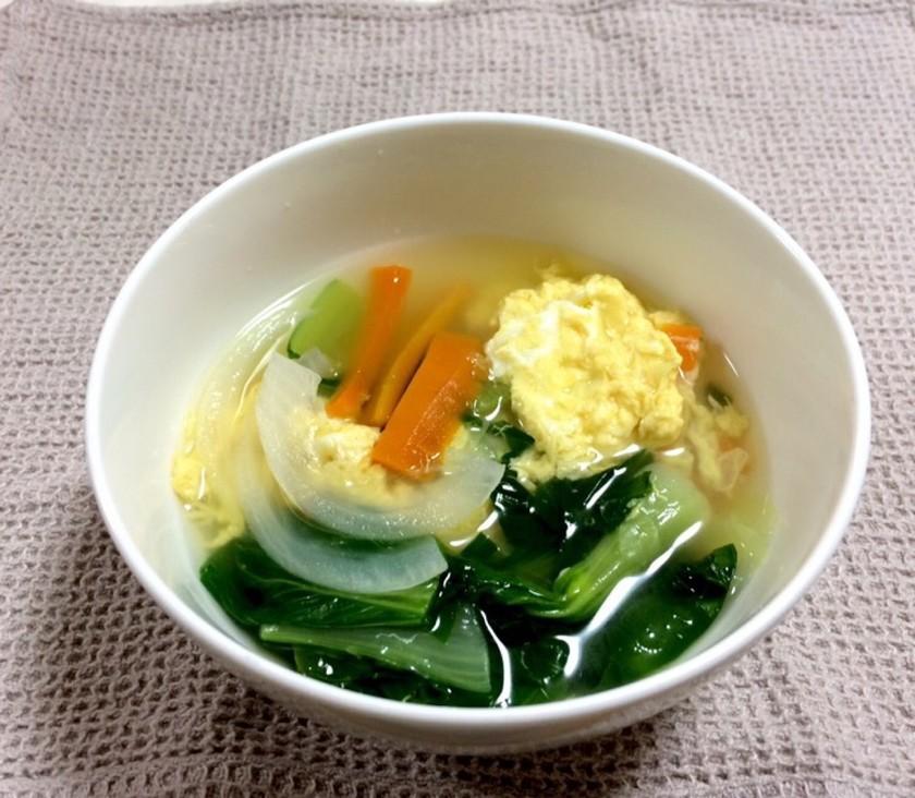 簡単☆ふわふわ卵の青梗菜スープ