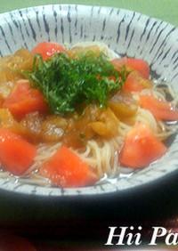 焼き茄子とトマトの和風冷製スープパスタ