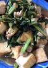 小松菜と厚揚げの鶏肉すき焼き風