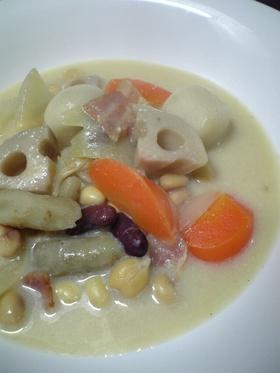 根菜&豆の美味しい豆乳スープ♪