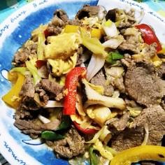 牛肉と卵の黒酢炒め