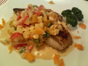 白身魚のムニエル 野菜ごまタルタルソース