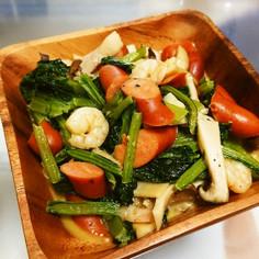 小エビと小松菜のコンソメ炒め