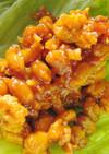 納豆肉味噌のレタスつつみ