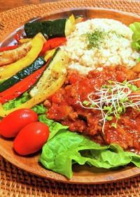 夏野菜とミートソースのサラダプレートご飯