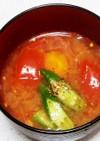 夏だから超簡単トマトとオクラの味噌汁