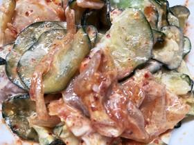 きゅうりとキムチの玉子サラダ