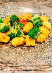 魚とブロッコリーのチリ炒め
