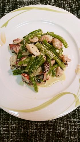 野沢菜と蒸しタコQPサラダ