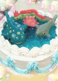 キラキラゼリー海の水族館ケーキ☆