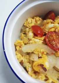 (お弁当)玉ねぎトマト玉子のバラオムレツ