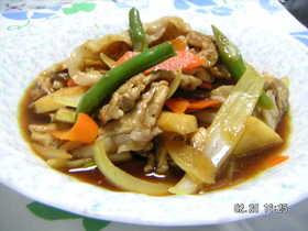 豚肉と野菜のさっと炒め中華風寿司酢漬け