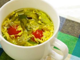 ベジ♪レタトマたまごスープ