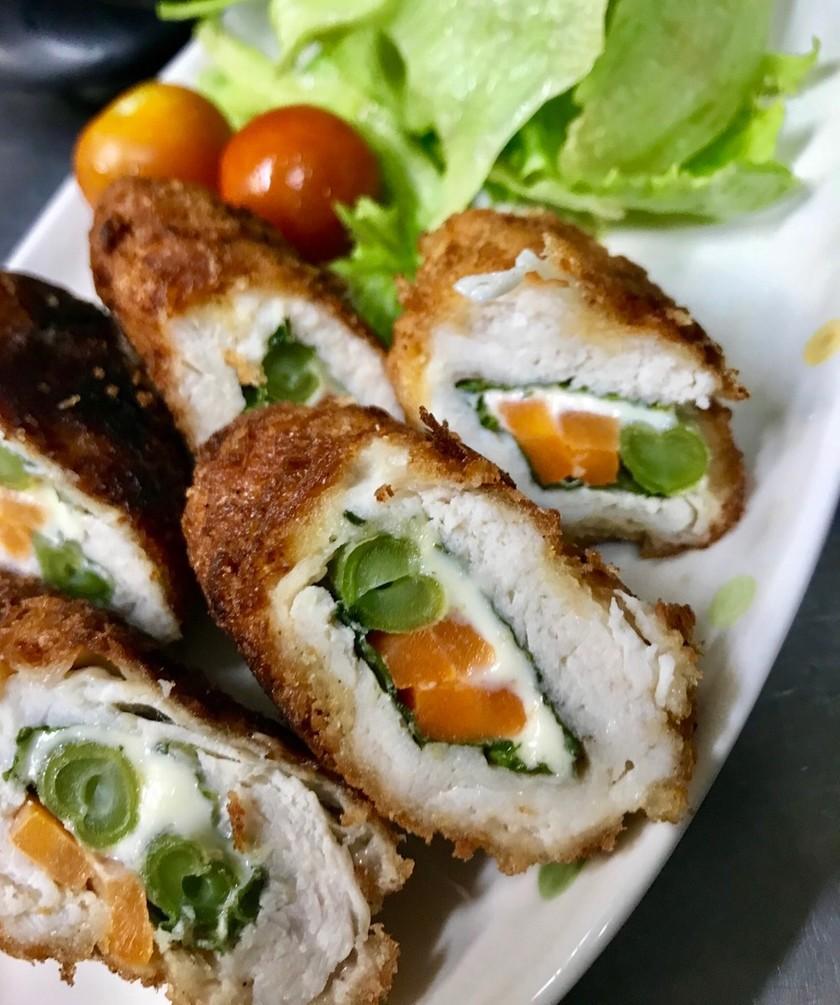 野菜とチーズのササミロールかつ