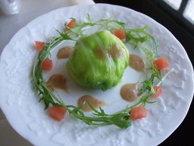 豆腐とサーモンのキャベツ包み