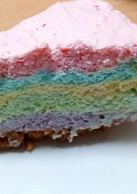 すごく可愛い!レインボーチーズケーキ