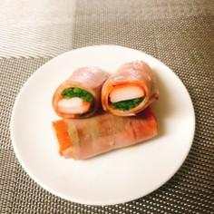 お弁当にベーコンのほうれん草&カニカマ巻