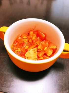 簡単!サラダチキンの食べるトマトスープ