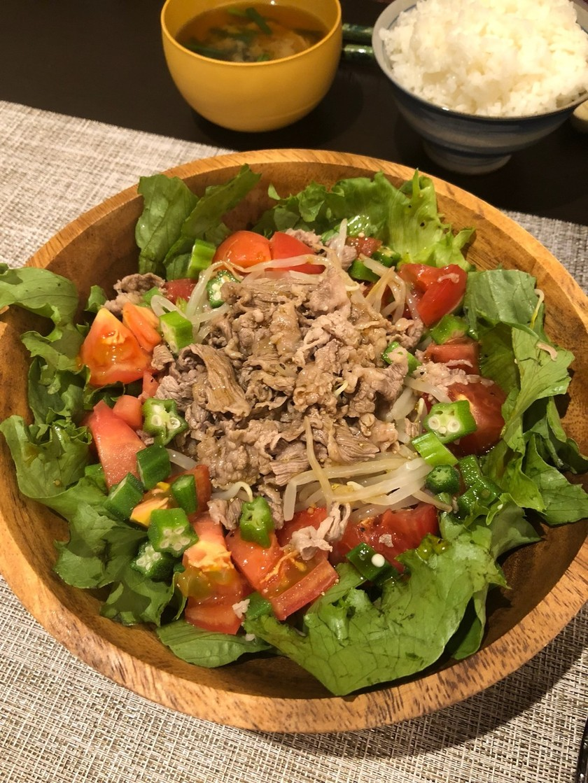 牛しゃぶと色々野菜のメインサラダ
