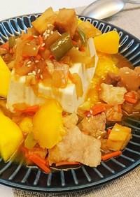 夏の甘辛料理〜マンゴー辛い絹ごし豆腐♪