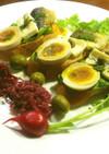 鮎と蓼ソース、ブルーチーズのブルスケッタ
