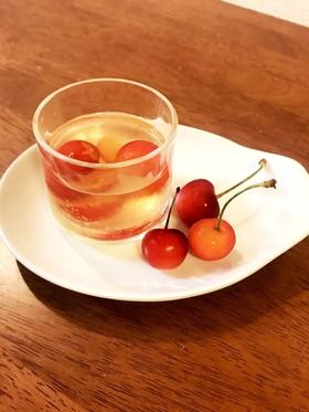初夏の大人味♪さくらんぼin梅酒ゼリー