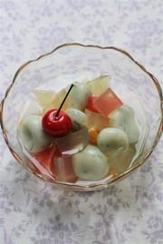 大葉茶寒天&白玉のフルーツポンチの写真