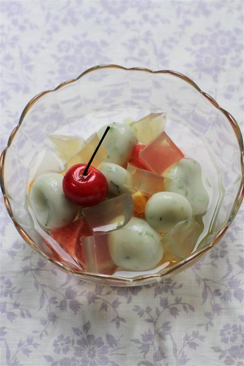 大葉茶寒天&白玉のフルーツポンチ