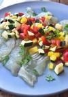 白身魚とパプリカのカルパッチョ