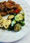 ズッキーニ、空豆、枝豆、いんげんの塩炒め
