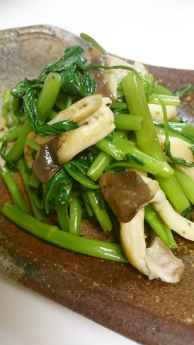 簡単!空芯菜とエリンギのにんにく炒め