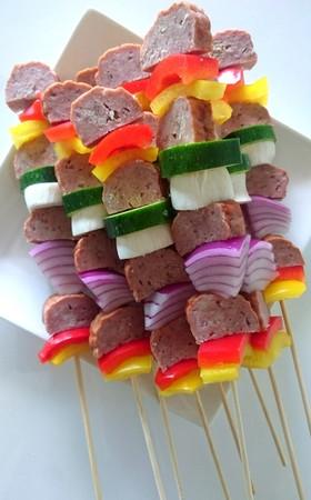 BBQに♡ミートローフと野菜の串焼き