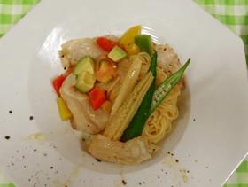 真鯛と夏野菜の冷製パスタ