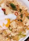 木綿豆腐のスタ丼(ピリ辛大蒜醤油味)
